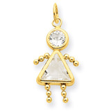 April Girl Birthstone Charm 14k Gold XCK162