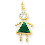 May Girl Birthstone Charm 14k Gold XCK164