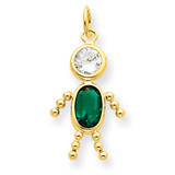 May Boy Birthstone Charm 14k Gold XCK165