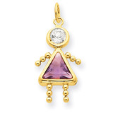 June Girl Birthstone Charm 14k Gold XCK166