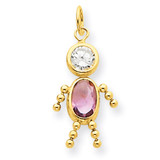 June Boy Birthstone Charm 14k Gold XCK167