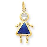 September Girl Birthstone Charm 14k Gold XCK172