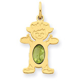 Girl 6x4 Oval Genuine Peridot-August 14k Gold XCK24