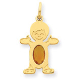 Boy 6x4 Oval Genuine Citrine-November 14k Gold XCK31