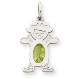 Girl 6x4 Oval Genuine Peridot-August 14k White Gold XCK48