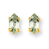 6x3 Marquise Green Quartz Earring 14k Gold XE102AG