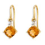 14k Yelloow Gold Citrine & Diamond Dangle Earrings XE1764CI/A