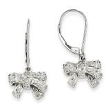 0.35ct Diamond Bow Dangle Leverback Earrings 14k White Gold XE2325AA