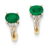 1/15Ct Diamond & Emerald Earrings 14k Gold XE2390E/AA
