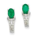 1/8Ct Diamond & Emerald Earrings 14k White Gold XE2399E/AA