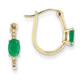 1/20ct Diamond & Emerald Hinged Hoop Earrings 14k Gold XE2413E/AA