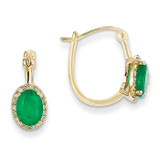 1/5ct Diamond & Emerald Hinged Hoop Earrings 14k Gold XE2415E/AA