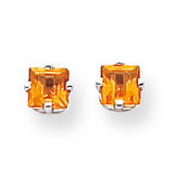 4mm Princess Cut Citrine Earrings 14k White Gold XE60WCI