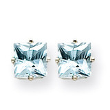 Aquamarine Earrings 14k White Gold XE62WAQ-B