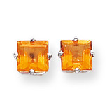 6mm Princess Cut Citrine Earrings 14k White Gold XE62WCI