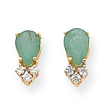 7x5mm Pear Emerald & Diamond Earrings 14k Gold XE762E/AAA