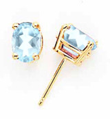 Aquamarine Post Earrings 14k Gold XE87AQ-B