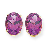 10x8mm Oval Amethyst Earrings 14k Gold XE90AM