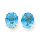 10x8mm Oval Blue Topaz Checker Earrings 14k Gold XE90BC