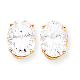 10x8mm Oval CZ Earrings 14k Gold XE90CZ