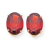 10x8mm Oval Garnet Earrings 14k Gold XE90GA