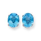 10x8mm Oval Blue Topaz Checker Earrings 14k White Gold XE90WBC