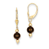 (5-6mm) Coffee Brown Cultured PEarringsl & Bead Leverback Earrings 14k Gold XF211