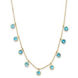 Blue Topaz with 2 Inch Extension Necklace 16 Inch 14k Gold XF2642-18