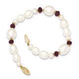 Fresh Water Cultured Pearl and Faceted Garnet Bead Bracelet 7.25 Inch 14k Gold XF444-7.25