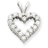 Diamond Heart Charm Pendant Mounting 14k White Gold XH127W