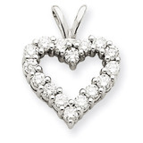 Diamond Heart Pendant Charm 14k White Gold XH127WA