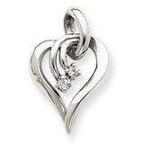 Diamond Heart Pendant Charm 14k White Gold XH143WA