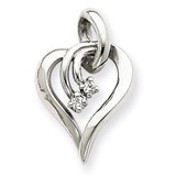 Diamond Heart Pendant Charm 14k White Gold XH143WVS