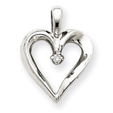 Diamond Heart Pendant Charm 14k White Gold XH150WA