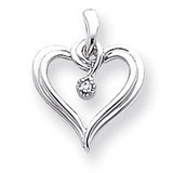 Diamond Heart Pendant 14k White Gold XH23WAA