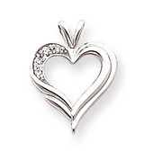 Diamond heart pendant 14k White Gold XH26WA