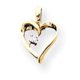 Diamond heart pendant 14k Gold XH5AA