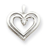 Diamond heart pendant 14k White Gold XH72WAA