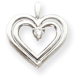 Diamond heart pendant 14k White Gold XH72WVS