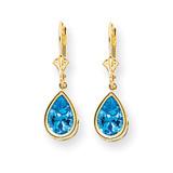 10x7mm Pear Blue Topaz Leverback Earrings 14k Gold XLB105BT