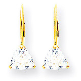 6mm Trillion Cubic Zirconia Leverback Earrings 14k Gold XLB118CZ