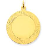 Etched Design .018 Gauge Circular Engravable Disc Charm 14k Gold XM147/18
