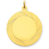 Etched Design .027 Gauge Circular Engravable Disc Charm 14k Gold XM147/27