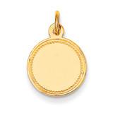Plain .013 Gauge Engravable Round Disc Charm 14k Gold XM149/13