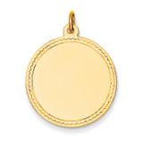 Plain .013 Gauge Engravable Round Disc Charm 14k Gold XM150/13