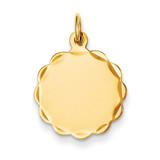 0.027 Gauge Engravable Scalloped Disc Charm 14k Gold XM168/27