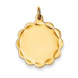 0.027 Gauge Engravable Scalloped Disc Charm 14k Gold XM169/27