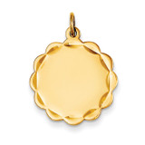0.035 Gauge Engravable Scalloped Disc Charm 14k Gold XM169/35