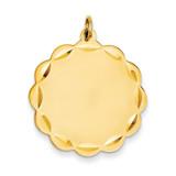 0.027 Gauge Engravable Scalloped Disc Charm 14k Gold XM170/27