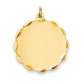 0.027 Gauge Engravable Scalloped Disc Charm 14k Gold XM171/27